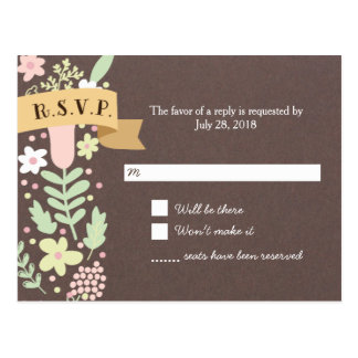 Whimsical Floral Wreath on Grey Craft Paper RSVP Postcard