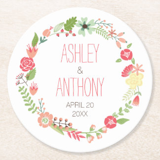 Whimsical Floral Wreath Personalized Wedding Round Paper Coaster