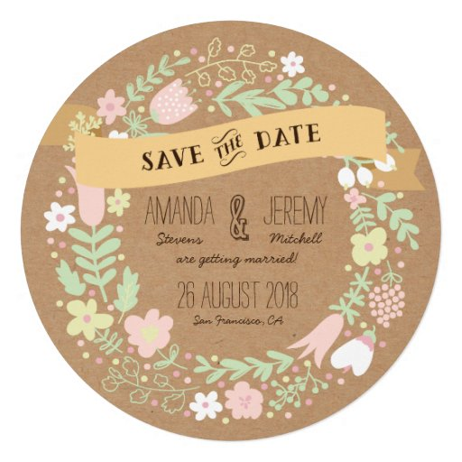 Whimsical Floral Wreath Save the Date Photo Personalized Announcements