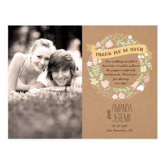 Whimsical Floral Wreath Thank You Photo Postcard