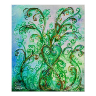 WHIMSICAL FLOURISHES,BLUE GREEN SWIRLS WITH HEART POSTER