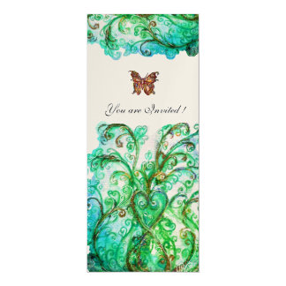 WHIMSICAL FLOURISHES bright blue green gold Card