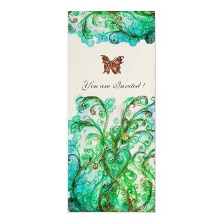 WHIMSICAL FLOURISHES bright blue green gold 10 Cm X 24 Cm Invitation Card