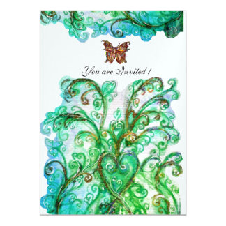 WHIMSICAL FLOURISHES bright blue green ice 13 Cm X 18 Cm Invitation Card
