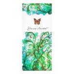 WHIMSICAL FLOURISHES bright blue green white Invitations