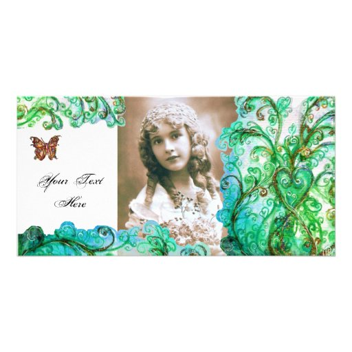 WHIMSICAL FLOURISHES  bright blue white green Personalized Photo Card