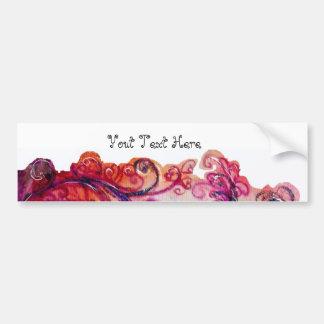 WHIMSICAL FLOURISHES bright pink purple white Bumper Sticker