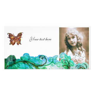 WHIMSICAL FLOURISHES bright red ,green blue white Personalised Photo Card