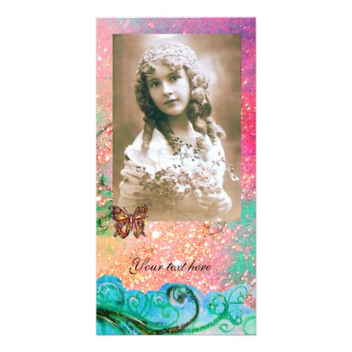 WHIMSICAL FLOURISHES bright red ,pink green blue Photo Cards