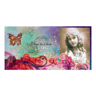WHIMSICAL FLOURISHES bright red ,pink green blue Photo Card