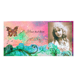 WHIMSICAL FLOURISHES bright red ,pink green blue Personalized Photo Card