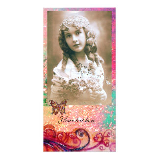 WHIMSICAL FLOURISHES bright red ,pink green Customized Photo Card