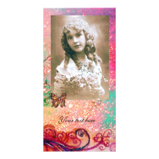 WHIMSICAL FLOURISHES bright red ,pink green Personalized Photo Card