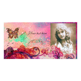 WHIMSICAL FLOURISHES bright red ,pink green Photo Cards
