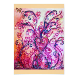 WHIMSICAL FLOURISHES bright red ,pink purple 13 Cm X 18 Cm Invitation Card