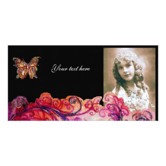 WHIMSICAL FLOURISHES bright red ,pink purple black Customized Photo Card