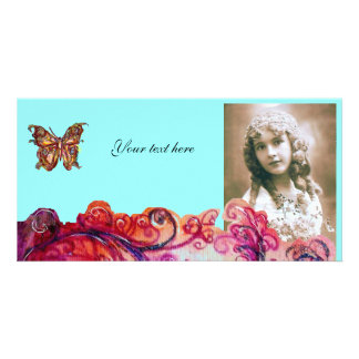 WHIMSICAL FLOURISHES bright red ,pink purple blue Personalised Photo Card