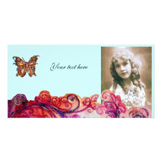 WHIMSICAL FLOURISHES bright red ,pink purple blue Personalized Photo Card