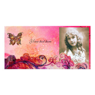 WHIMSICAL FLOURISHES bright red ,pink purple Personalised Photo Card