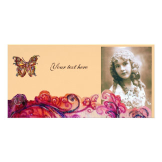 WHIMSICAL FLOURISHES bright red pink purple Personalized Photo Card