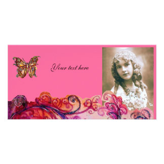 WHIMSICAL FLOURISHES bright red ,pink purple Photo Card
