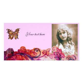 WHIMSICAL FLOURISHES bright red ,pink purple Photo Card Template