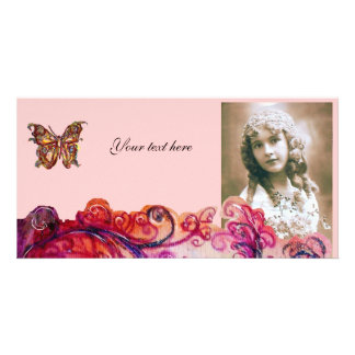 WHIMSICAL FLOURISHES bright red ,pink purple Photo Greeting Card