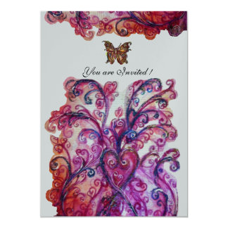 WHIMSICAL FLOURISHES bright red pink purple silver 13 Cm X 18 Cm Invitation Card