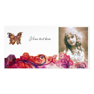 WHIMSICAL FLOURISHES bright red ,pink purple white Customised Photo Card