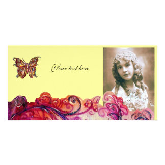 WHIMSICAL FLOURISHES bright red pink purple yellow Photo Card