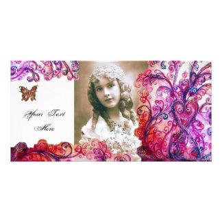 WHIMSICAL FLOURISHES bright red ,pink white purple Custom Photo Card
