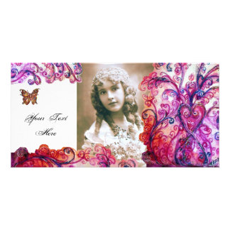 WHIMSICAL FLOURISHES bright red ,pink white purple Photo Card Template