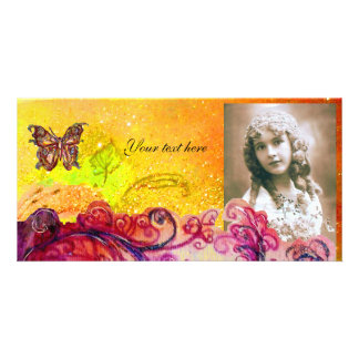 WHIMSICAL FLOURISHES bright red ,pink yellow Custom Photo Card