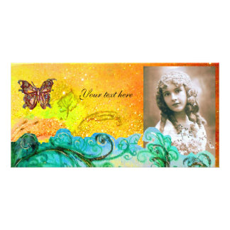 WHIMSICAL FLOURISHES bright yellow,blue green,red Photo Cards