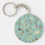 Whimsical Flower Garden Basic Round Button Key Ring