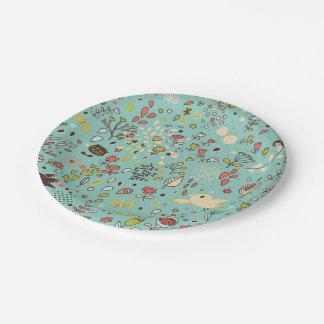 Whimsical Flower Garden Paper Plate