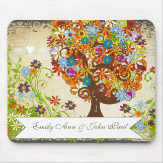 Whimsical Flower Tree Wedding Mouse Pad