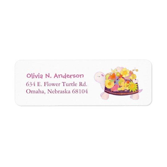 Whimsical Flower Turtle Address