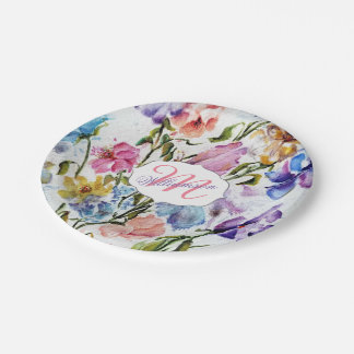 WHIMSICAL FLOWERS AND BUTTERFLIES PAPER PLATE
