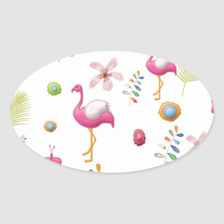 Whimsical Flowers and Pink Flamingos Oval Sticker