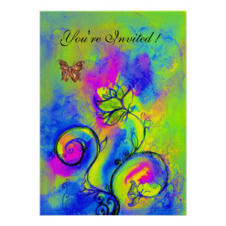 WHIMSICAL FLOWERS & BUTTERFLIES blue yellow purple Custom Announcements