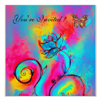 WHIMSICAL FLOWERS & BUTTERFLIES pink blue yellow 13 Cm X 13 Cm Square Invitation Card