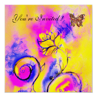 WHIMSICAL FLOWERS & BUTTERFLIES pink blue yellow Invitation