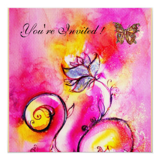 WHIMSICAL FLOWERS & BUTTERFLIES pink yellow 13 Cm X 13 Cm Square Invitation Card