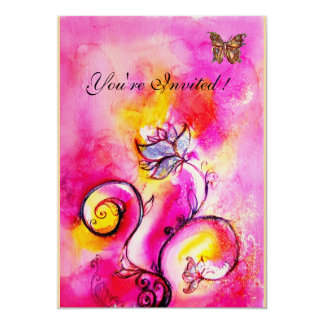 WHIMSICAL FLOWERS & BUTTERFLIES pink yellow 13 Cm X 18 Cm Invitation Card