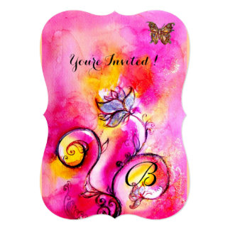 WHIMSICAL FLOWERS & BUTTERFLIES pink yellow Invite