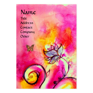 WHIMSICAL FLOWERS & BUTTERFLIES pink yellow purple Business Card Templates