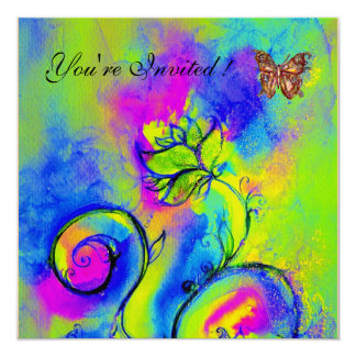 WHIMSICAL FLOWERS & BUTTERFLIES purple blue green 13 Cm X 13 Cm Square Invitation Card