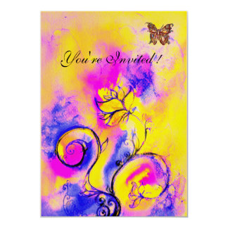 WHIMSICAL FLOWERS & BUTTERFLIES purple yellow pink 13 Cm X 18 Cm Invitation Card