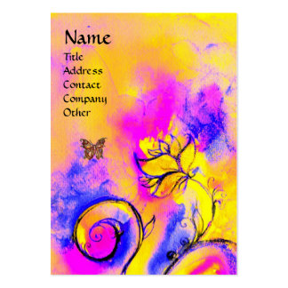 WHIMSICAL FLOWERS & BUTTERFLY pink purple yellow Business Card